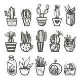 Sistema dibujado mano del cactus en los potes Foto de archivo