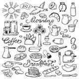 Sistema dibujado mano del desayuno del garabato Imagen de archivo libre de regalías