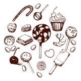 Sistema dibujado mano del dulce Imagen de archivo