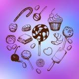 Sistema dibujado mano del dulce Imagen de archivo libre de regalías