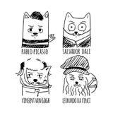 Sistema dibujado mano del ejemplo de los artistas del gato del vector Foto de archivo