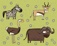 Sistema dibujado mano del ejemplo del grunge de la cebra, antílope, avestruz a Foto de archivo libre de regalías