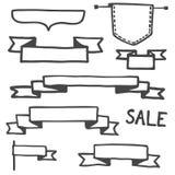 Sistema dibujado mano del ejemplo del vector de la bandera libre illustration