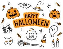 Sistema dibujado mano del garabato de Halloween Imagen de archivo