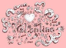 Sistema dibujado mano del garabato del día de San Valentín Foto de archivo libre de regalías