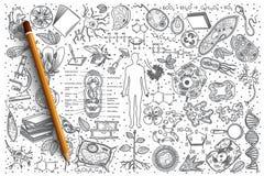 Sistema dibujado mano del garabato del vector de la biología Foto de archivo libre de regalías