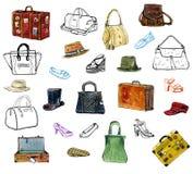 Sistema dibujado mano del gráfico de los acessories de la ropa, sombreros, bolsos, zapatos ilustración del vector