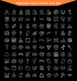 Sistema dibujado mano del icono de Halloween Imagen de archivo libre de regalías