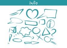 Sistema dibujado mano del icono de la información del negocio Fotos de archivo