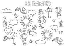 Sistema dibujado mano del tiempo del verano Plantilla de la página del libro de colorear Foto de archivo libre de regalías