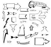 Sistema dibujado mano del vector de flechas Imagenes de archivo