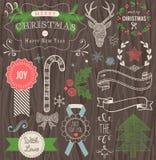 Sistema dibujado mano del vector de la Navidad Fotografía de archivo libre de regalías