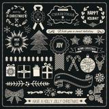 Sistema dibujado mano del vector de la Navidad Foto de archivo libre de regalías