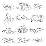 Sistema dibujado mano del vector de olas oceánicas Onda de la tormenta del mar aislada ilustración del vector