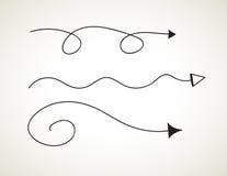 Sistema dibujado mano del vector en el fondo blanco - elementos con las flechas y los elementos Imágenes de archivo libres de regalías
