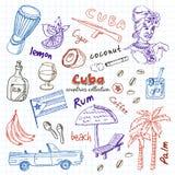 Sistema dibujado mano del viaje de Cuba del garabato Imagenes de archivo
