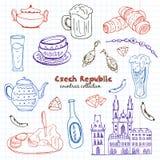 Sistema dibujado mano del viaje de la República Checa del garabato Foto de archivo