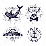 Sistema dibujado mano del vintage de insignias con el cráneo del pirata, tiburón, ancho Fotos de archivo libres de regalías