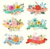 Sistema dibujado mano floral del ejemplo del vector Foto de archivo libre de regalías