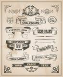 Sistema dibujado mano retra de la bandera del vintage Imagenes de archivo