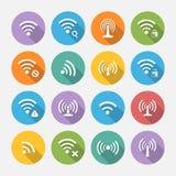 Sistema dieciséis de diverso vector plano Wi-Fi y de iconos inalámbricos Fotografía de archivo
