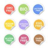 Sistema dietético del icono de las etiquetas de la comida del vector El gluten y el azúcar, gmo liberan, los nitratos y lactosa,  Imágenes de archivo libres de regalías
