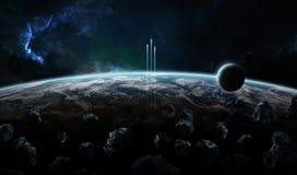Sistema distante del pianeta nello spazio con il elem della rappresentazione dei exoplanets 3D illustrazione di stock