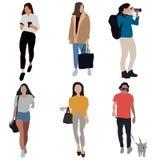 Sistema diverso de gente de la historieta Hombres y mujeres de todas las edades y formas de vida stock de ilustración
