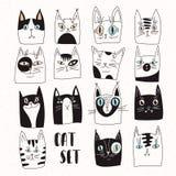 Sistema divertido de gatos del vector stock de ilustración