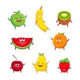Sistema divertido de la historieta de los caracteres de las frutas Imagenes de archivo