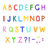 Sistema divertido de letterns ingleses, del vector alfabeto dibujado mano Foto de archivo libre de regalías