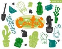 Sistema divertido del cactus Imagenes de archivo
