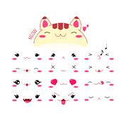 Sistema divertido del icono del emoticon del gato del estilo del kawaii libre illustration