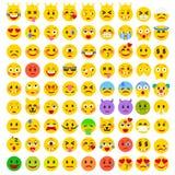 Sistema divertido plano abstracto de Emoticons Sistema de Emoji Fotografía de archivo libre de regalías