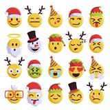 Sistema divertido y lindo del emoji de la Navidad del día de fiesta Imágenes de archivo libres de regalías