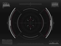 Sistema do alvo Conceito apontando futurista Crosshair moderno Relação de HUD da ficção científica UI com elementos infographic s ilustração royalty free