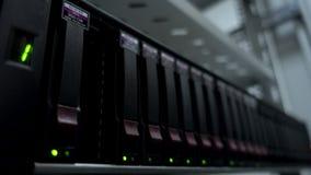 Sistema do armazenamento de dados de Hdd Coordenador das mãos do close up na sala do servidor Coordenador que trabalha em um cent vídeos de arquivo