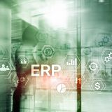 Sistema do ERP, planeamento do recurso da empresa no fundo borrado Automatização de negócio e conceito da inovação fotografia de stock