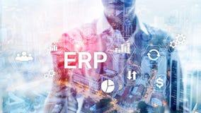 Sistema do ERP, planeamento do recurso da empresa no fundo borrado Automatização de negócio e conceito da inovação ilustração stock