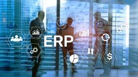 Sistema do ERP, planeamento do recurso da empresa no fundo borrado Automatização de negócio e conceito da inovação foto de stock