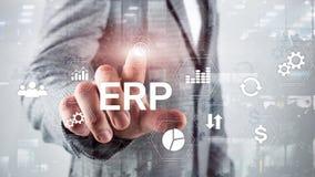Sistema do ERP, planeamento do recurso da empresa no fundo borrado Automatização de negócio e conceito da inovação imagens de stock royalty free