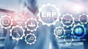 Sistema do ERP, planeamento do recurso da empresa no fundo borrado Automatiza??o de neg?cio e conceito da inova??o ilustração stock
