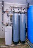 Sistema do tratamento de águas residuais do local com sensores e indicadores Imagem de Stock Royalty Free