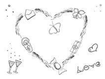 Sistema dudling romántico Amor, familia, boda, compromiso, el día de tarjeta del día de San Valentín, nacimiento del bebé Fije de ilustración del vector