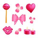 Sistema dulce de la etiqueta engomada del vector de la datación romántica del día de la tarjeta del día de San Valentín s stock de ilustración
