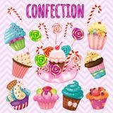 Sistema dulce de la ráfaga, caramelo, tortas, piruletas Fotografía de archivo libre de regalías