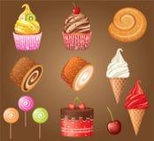 Sistema dulce de los pasteles. Fotografía de archivo libre de regalías