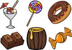 Sistema dulce del ejemplo de la historieta de los objetos de la comida Imagen de archivo