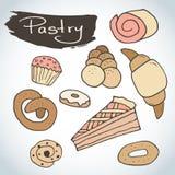 Sistema dulce dibujado mano de los pasteles Bosquejo de los elementos de la panadería Excelente para crear su propio diseño del m Fotografía de archivo libre de regalías