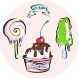 Sistema dulce y sabroso del vector del helado Imagen de archivo libre de regalías